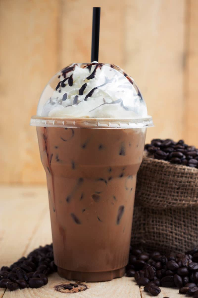 blended iced mocha coffee drink with whipped cream.