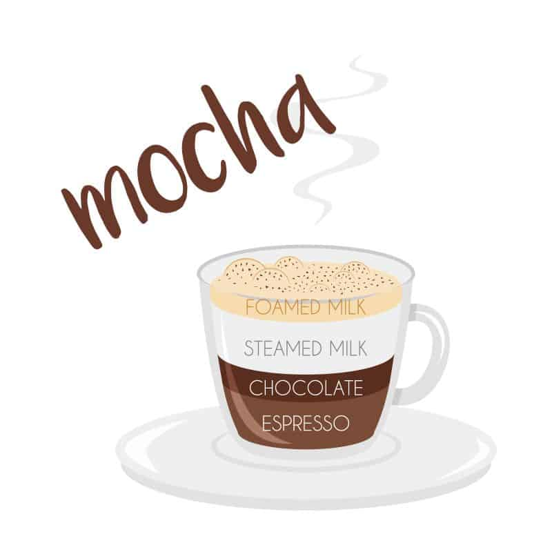 Vector illustration of a Mocha coffee cup icon with its preparation and proportions.